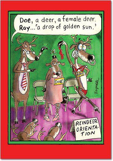 Amazon Com Reindeer Orientation Christmas Joke Card Office Products Funny Greeting Cards Christmas Humor Reindeer