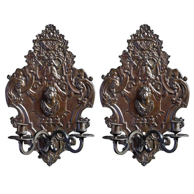 A French 17th Century Style Bronze 2 Light Pair Of Wall
