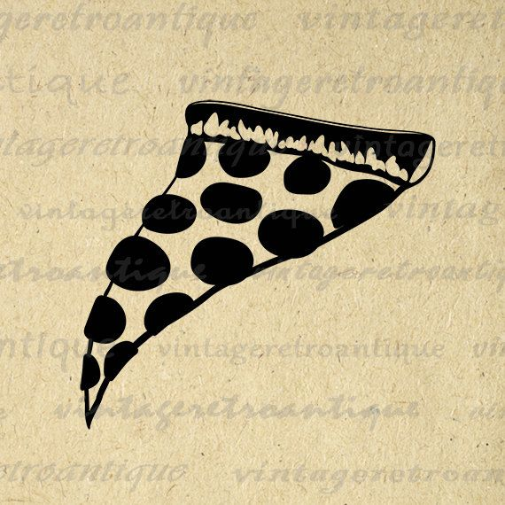 Pizza Digital Printable Download Slice of Pizza Graphic Image Artwork Vintage Clip Art Jpg Png Eps 18x18 HQ 300dpi No.4336 @ vintageretroantique.etsy.com