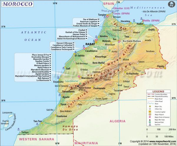 cool Morocco Map Travelquaz Pinterest Morocco County seat and
