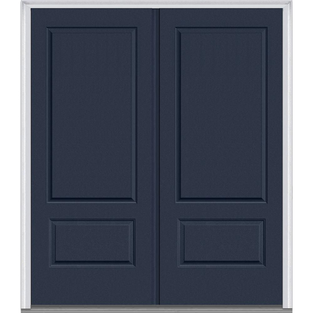 MMI Door 72 In. X 80 In. Classic Left Hand Inswing 2 Panel Painted  Fiberglass Smooth Prehung Front Door With Brickmould Z019682L   The Home  Depot