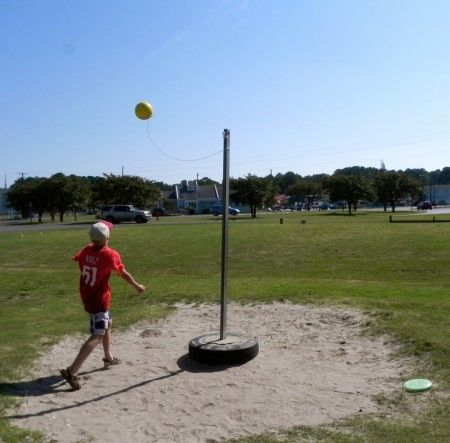old-fashioned tether ball game | Tether ball is just one of the games at Woody's in Chincoteague