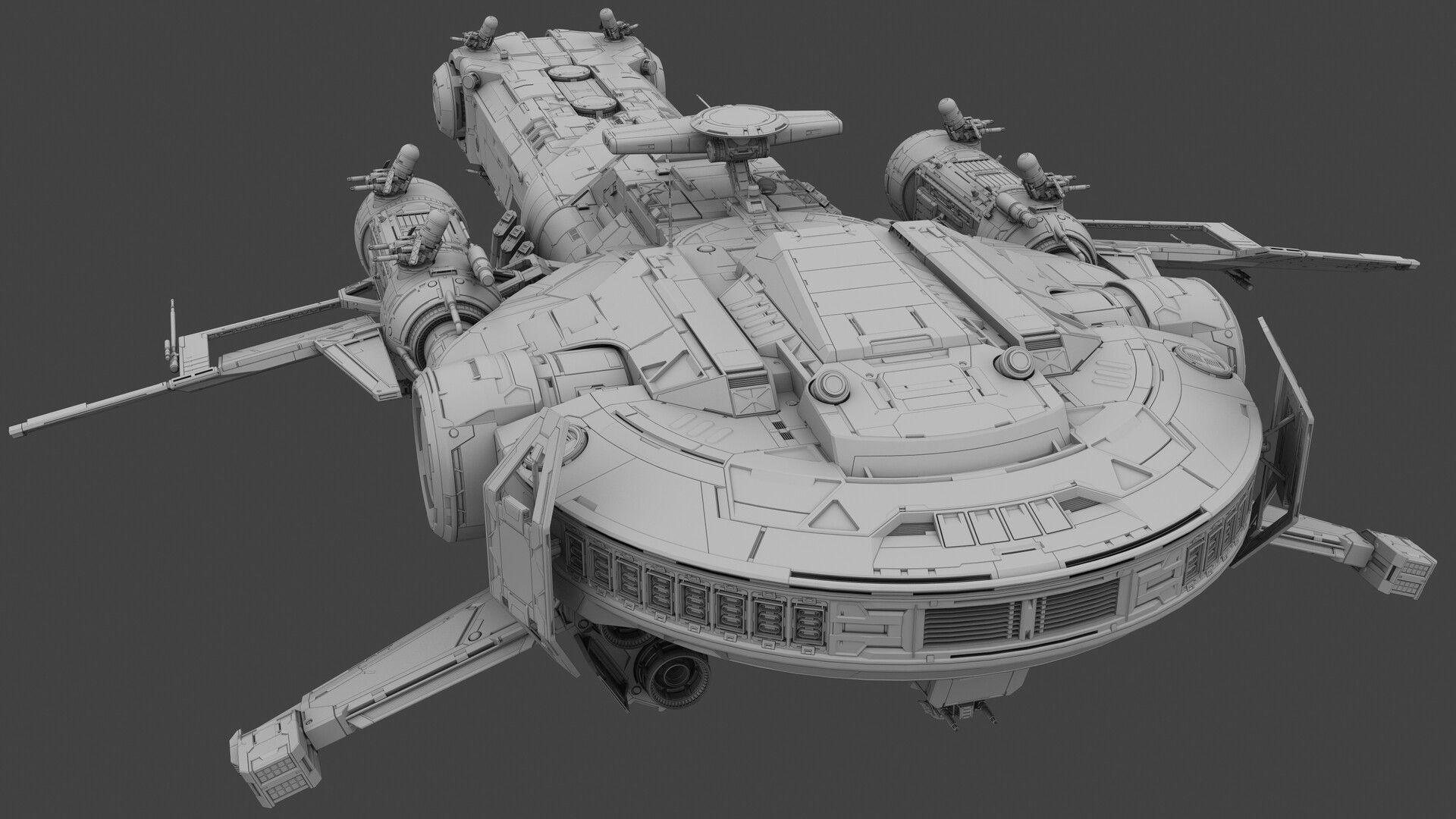 ArtStation battle cruiser, MistFly Games Alien concept