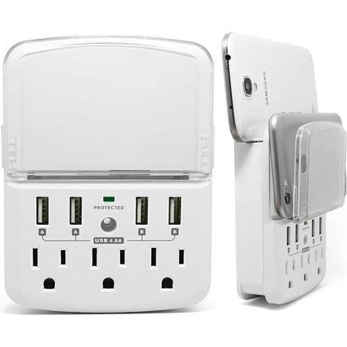 Wall Power Station 3 Ac 4 Usb 4 8a Total With Pull Out Shelf By Rnd Usb Charging Station Ac Plug Surge Protection