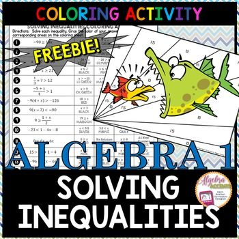 Solving Inequalities Differentiated Coloring Activities Math