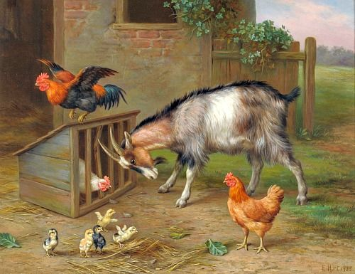 Edgar Hunt Farmyard Scene with Goat, Chickens and Chicks 1935