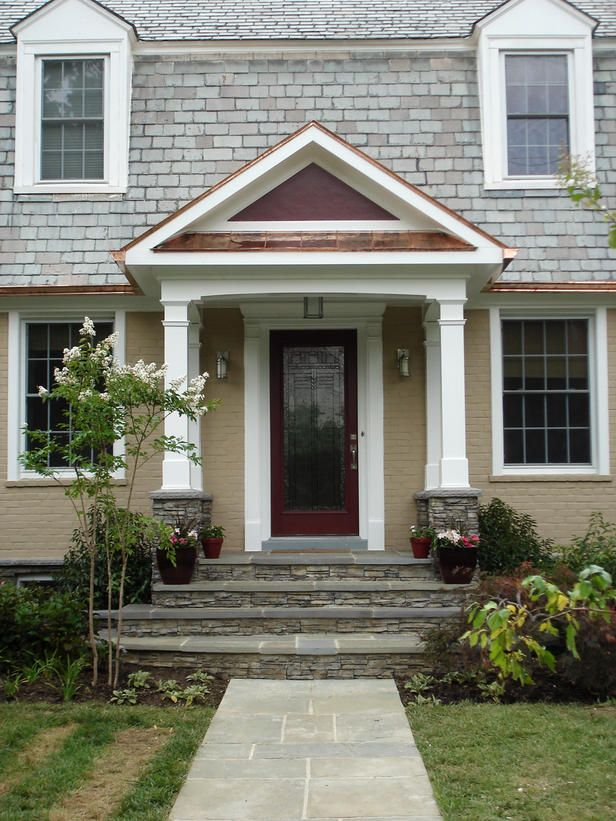 Small Front Porches Designs Front Porch Steps Porch Design: House With Porch, Front Door Overhang, Door Overhang
