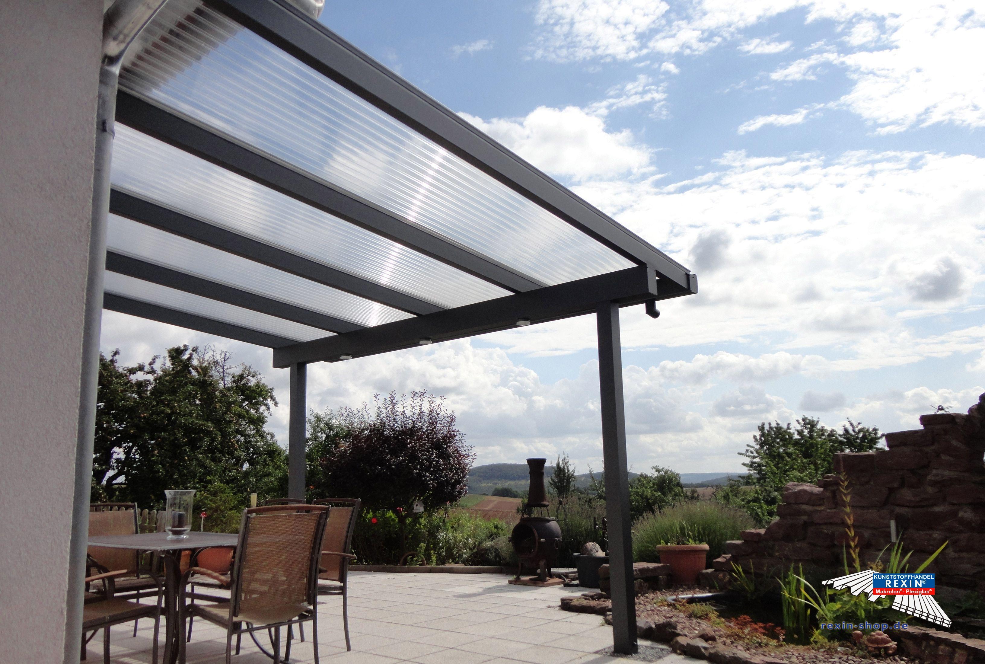 Cute Alu Terrassendach der Marke REXOclassic m x m in anthrazit mit passender XL Regenrinne DacheindeckungRegenrinnePfostenAnthrazitBeleuchtung