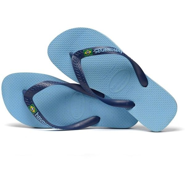 d1e09599f7fa2 Havaianas H Brasil Logo Flipflops Sky Blue (€29) ❤ liked on Polyvore  featuring shoes