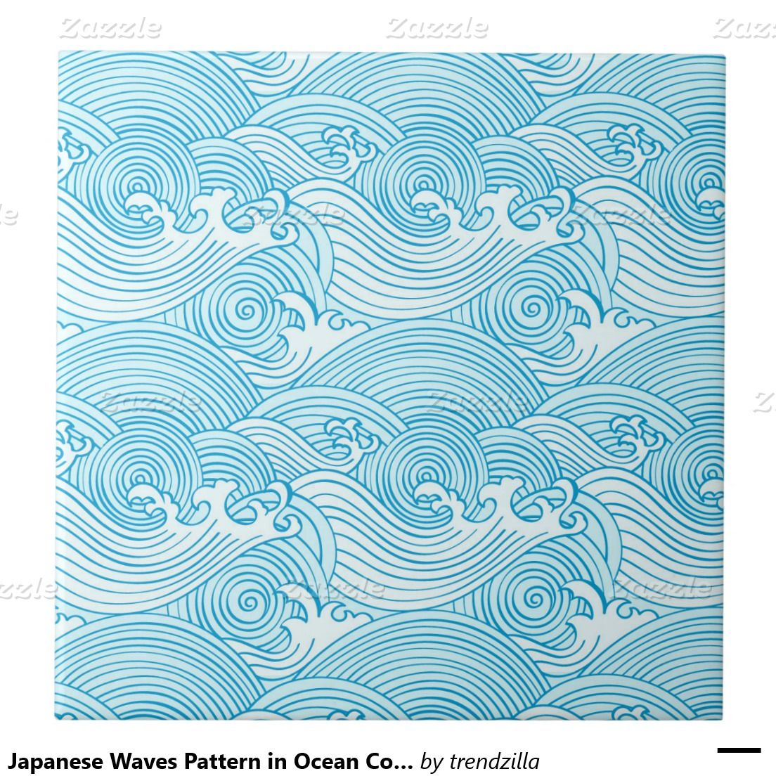 Japanese Waves Pattern in Ocean Colors Tile