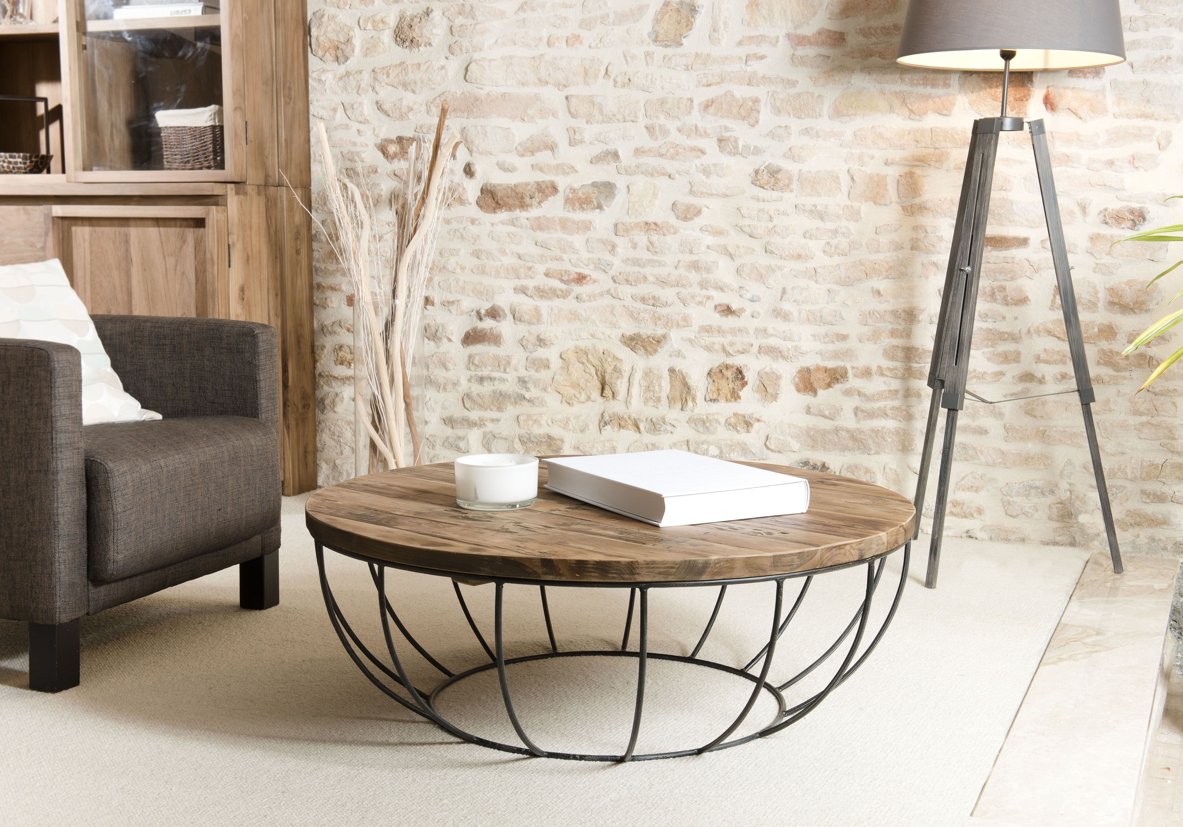 Table Basse Ronde Teck Recycle Structure Filaire Noire 1 Plateau Swing Infos Et Dimensions Longueur 100 Cm L Table Basse Table Basse Ronde Table De Salon