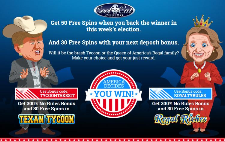 America Decides Bonuses 300 Match plus 80 free Spins