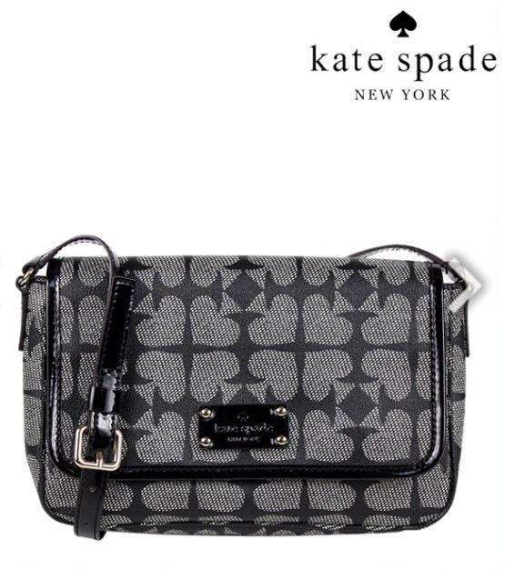Kate Spade 'Ace Of Spades' FYNN Crossbody Pebble Leather Black Gray Bag Purse #katespade #MessengerCrossBody
