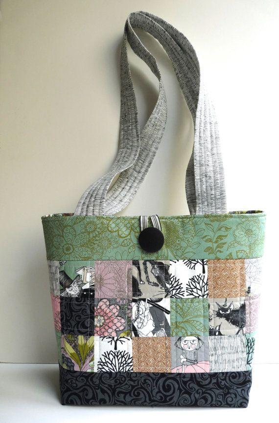 Quilted Tote Bag Patchwork Purse Ghastlies Vintage Book Beach