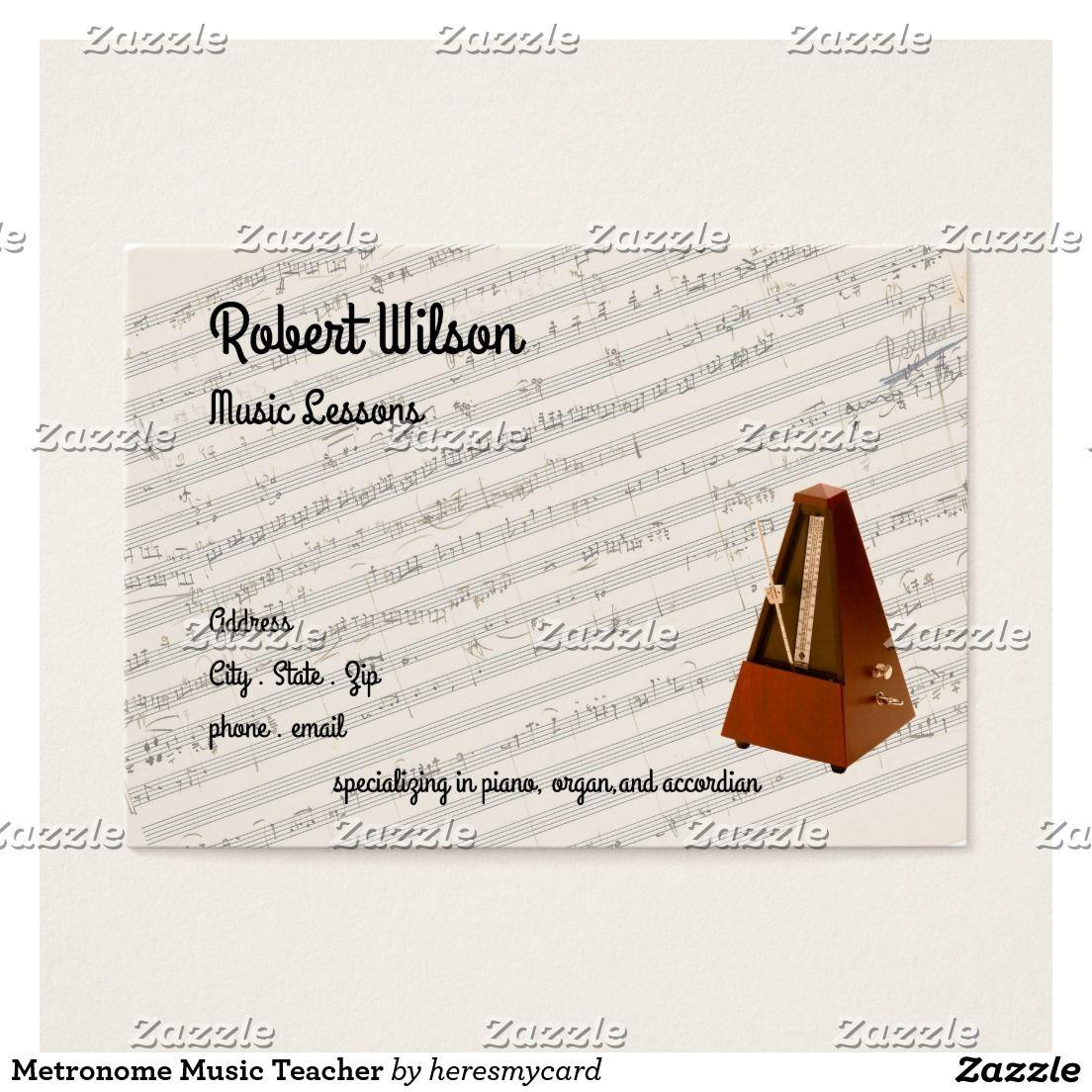 Metronome Music Teacher Business Card | Teacher business cards