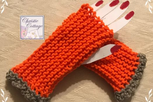 Orange and Grey Fingerless Gloves, Free Shipping, USA