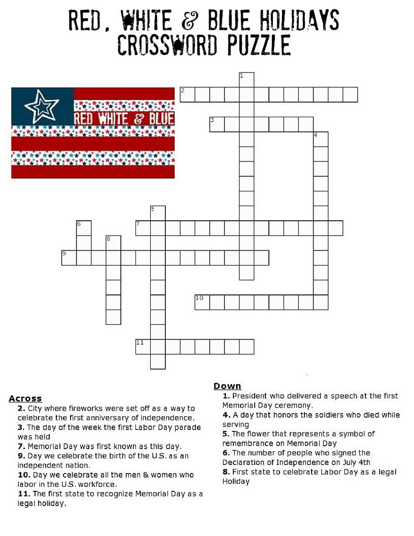 Red White And Blue Holidays Crossword Puzzle Holiday Puzzle Printable Activities For Kids Red