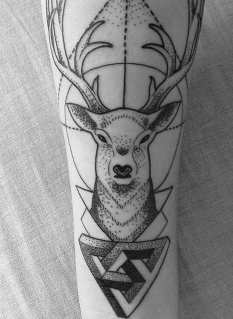 deer geometric tattoo tattoos pinterest. Black Bedroom Furniture Sets. Home Design Ideas