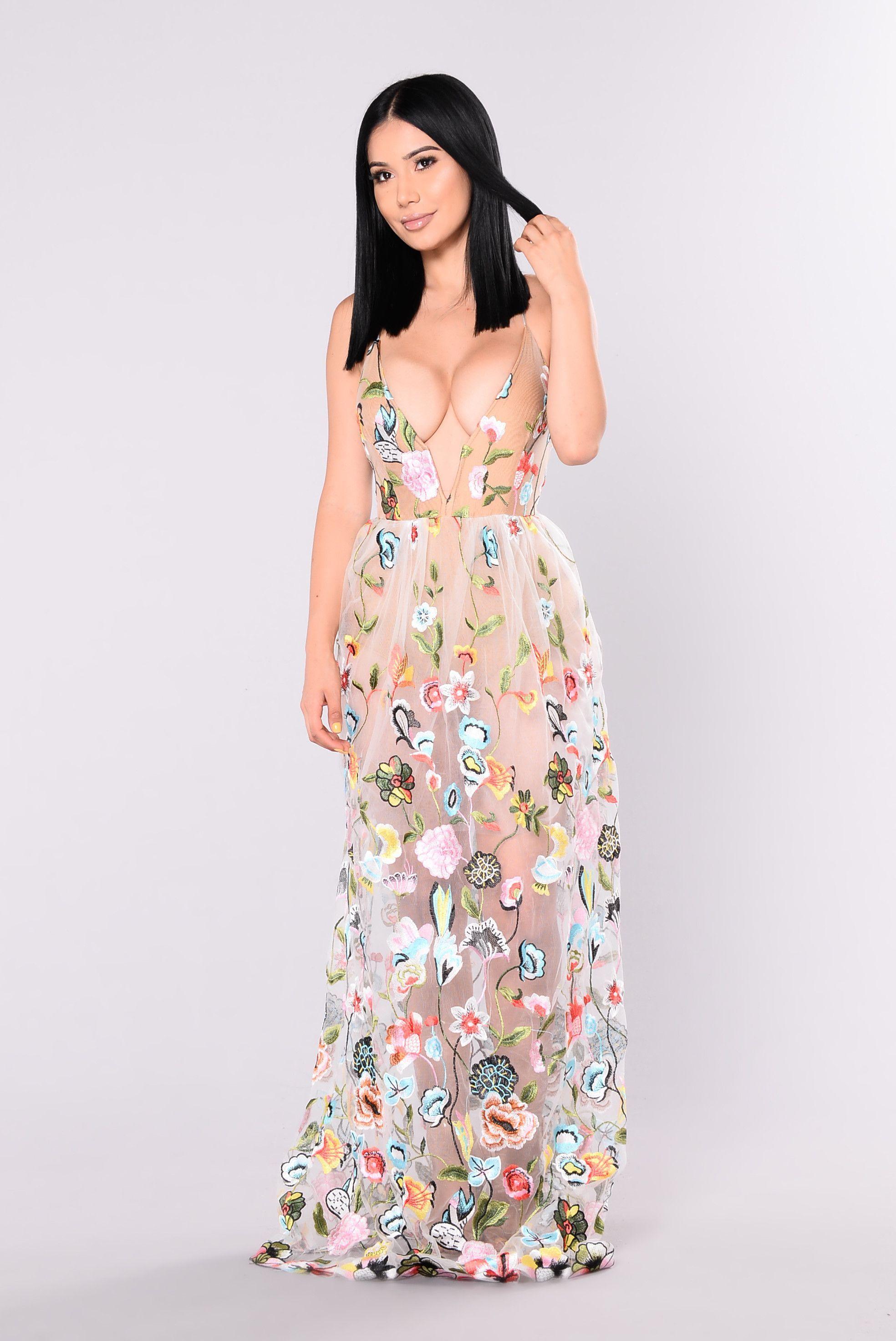 Spring Gala Maxi Dress - Ivory  Maxi dress, Flower maxi dress