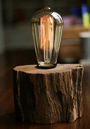 Industrial Lamp Vintage Edison Bulb With Drift Wood Base E27