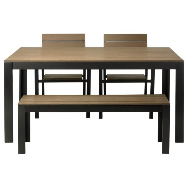 falster table bench and 2 armchairs blackbrown ikea polystyrene slats are weather resistant and easy to care for - Garden Furniture Table Bench Seat