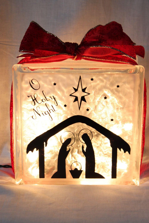 Christmas Santa Or Nativity Lighted Glass Block By WorldofAKD - Nativity vinyl decal for glass block light
