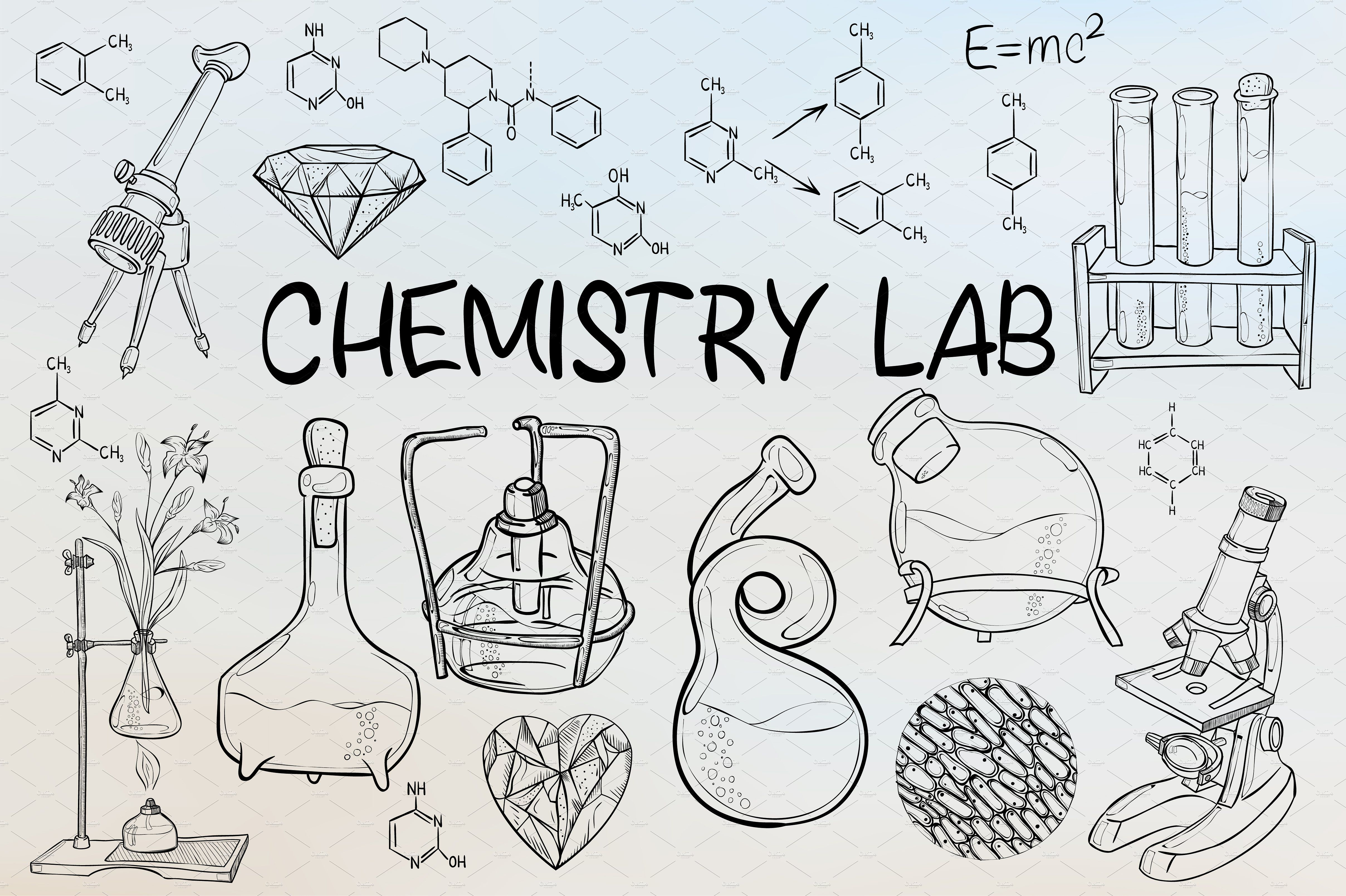 Chemistry Lab Equipment School Illustration Vector Doodle