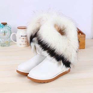 Bottine bottes de neige en coton femme chaussure d'hiver chaud fausse fourrure bottes bottes de neige en cuir synthétique YCr6kuzH