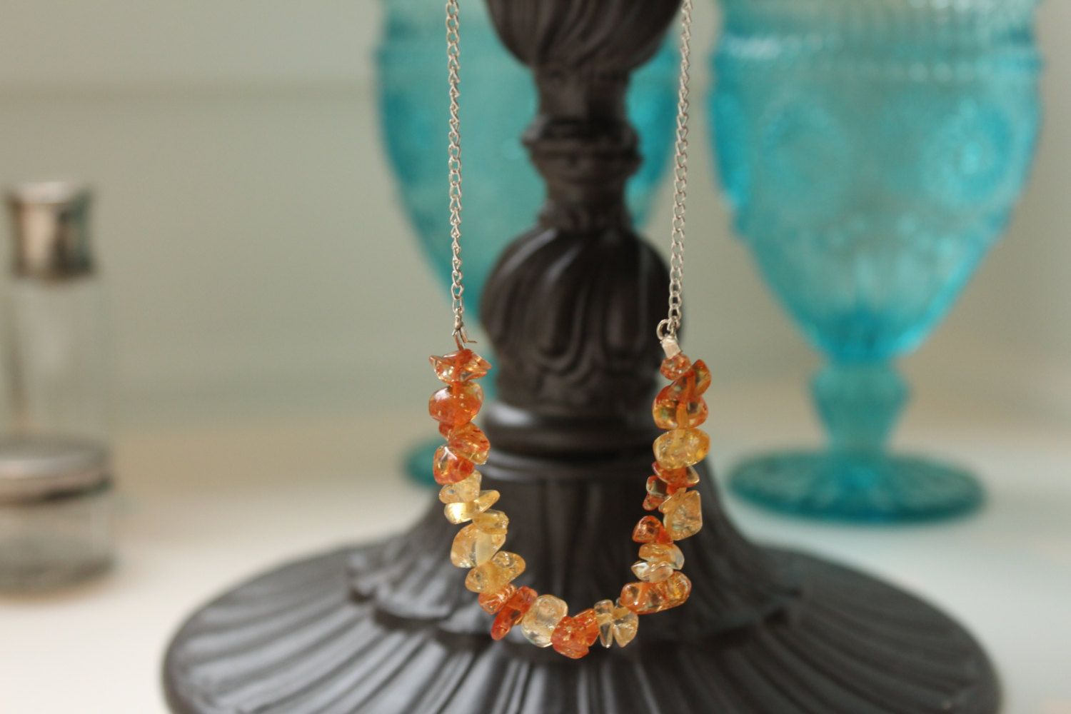 Amber Glass Crackle Mix Beaded 'Rock Candy' Style Necklace with Silver Plated Metal Chain - bright - great gift - Orange Mix. $11.00, via Etsy.