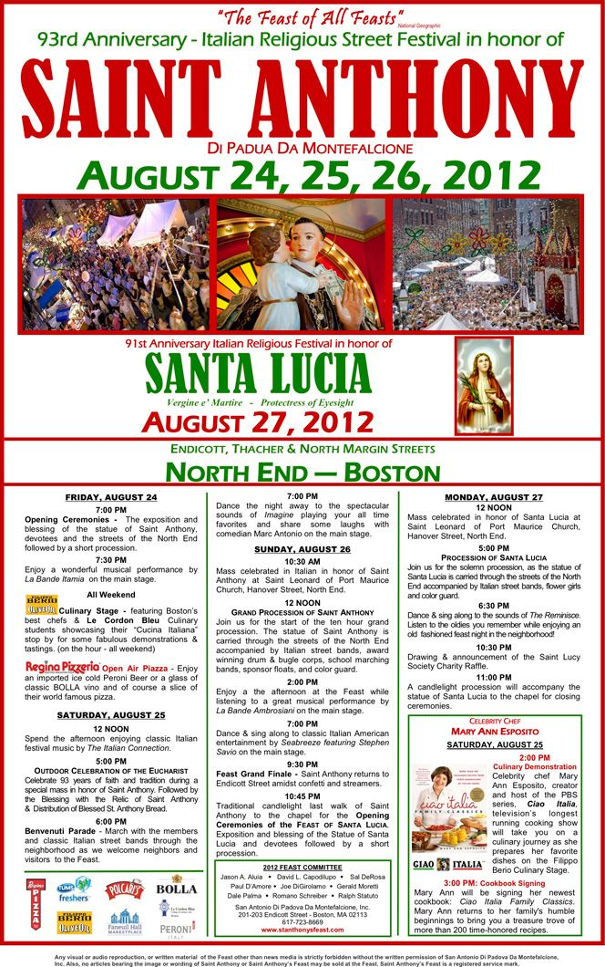 Saint Anthony's Feast The North End of Boston's Official