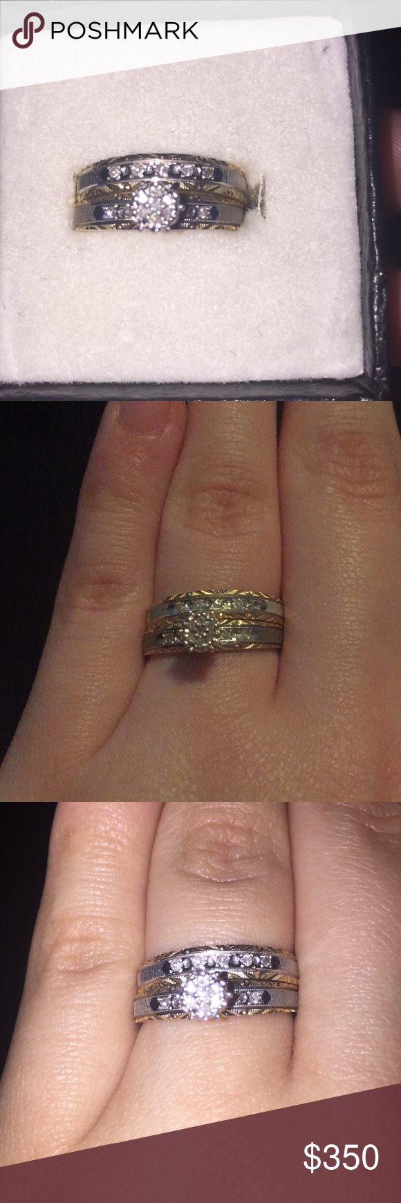 Wedding ring, engagement ring set 1/10 carat diamond 10k