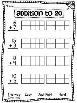 Addition To 20 Using 20 Frames Two 10 Frames To Make Adding Easier And A Ton Of Other Gre First Grade Math Kindergarten Math Worksheets Free Math Instruction Math worksheets addition within 20