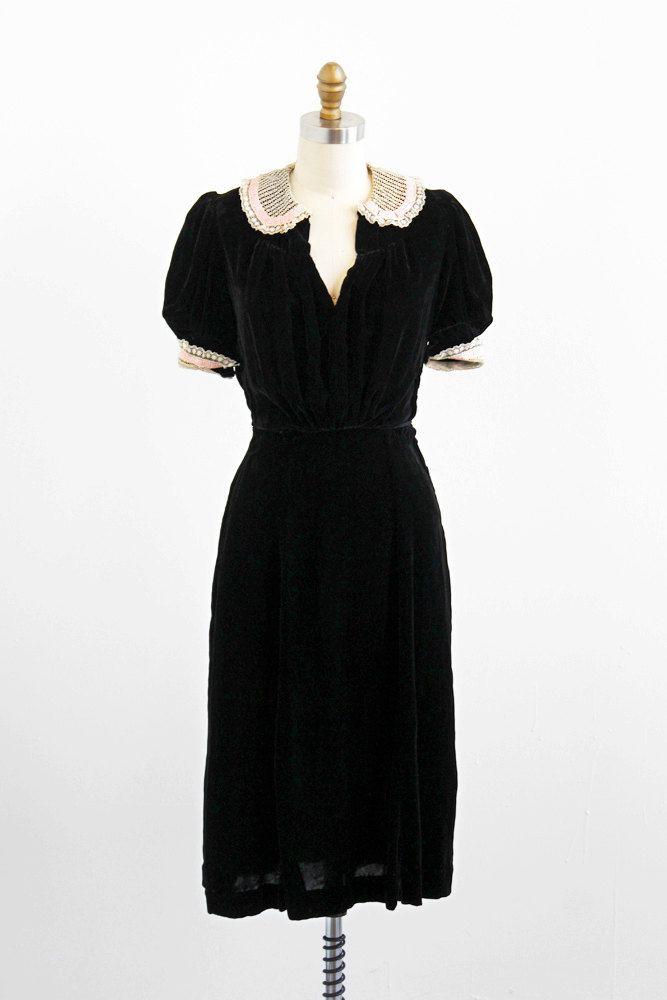 vintage 1930s dress 30s dress Black Silk Velvet Dress
