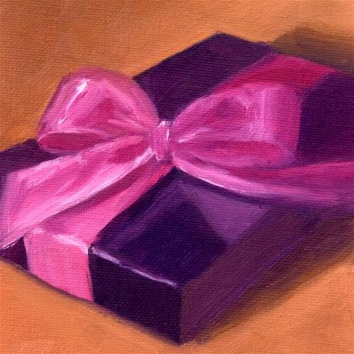 "Daily Paintworks - ""Pink Bow"" - Original Fine Art for Sale - © Christine Tierney"