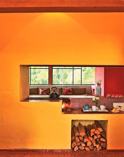 Um refúgio de pau-a-pique Interiors, Kitchens and House