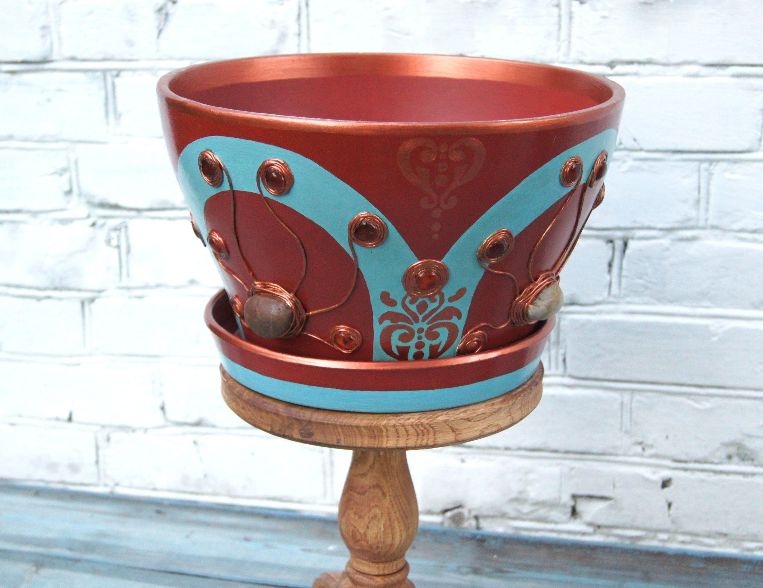 Large Hand Painted Ceramic Plant Pot Indoor Turquoise Red Flower Pot Plant Holder With Drainage Hole Large Ceramic Planter Solid Cache Pot In 2020