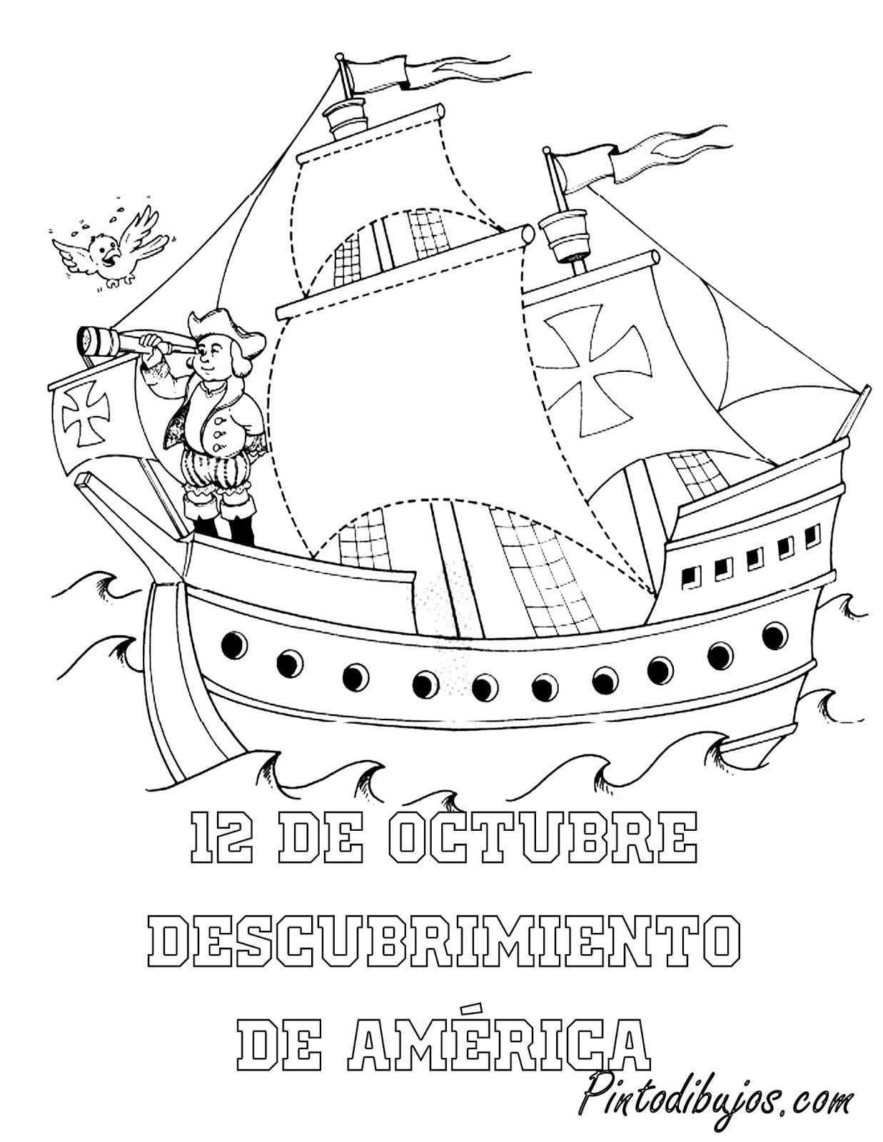 12 de octubre para colorear | descubrimiento de América para ...