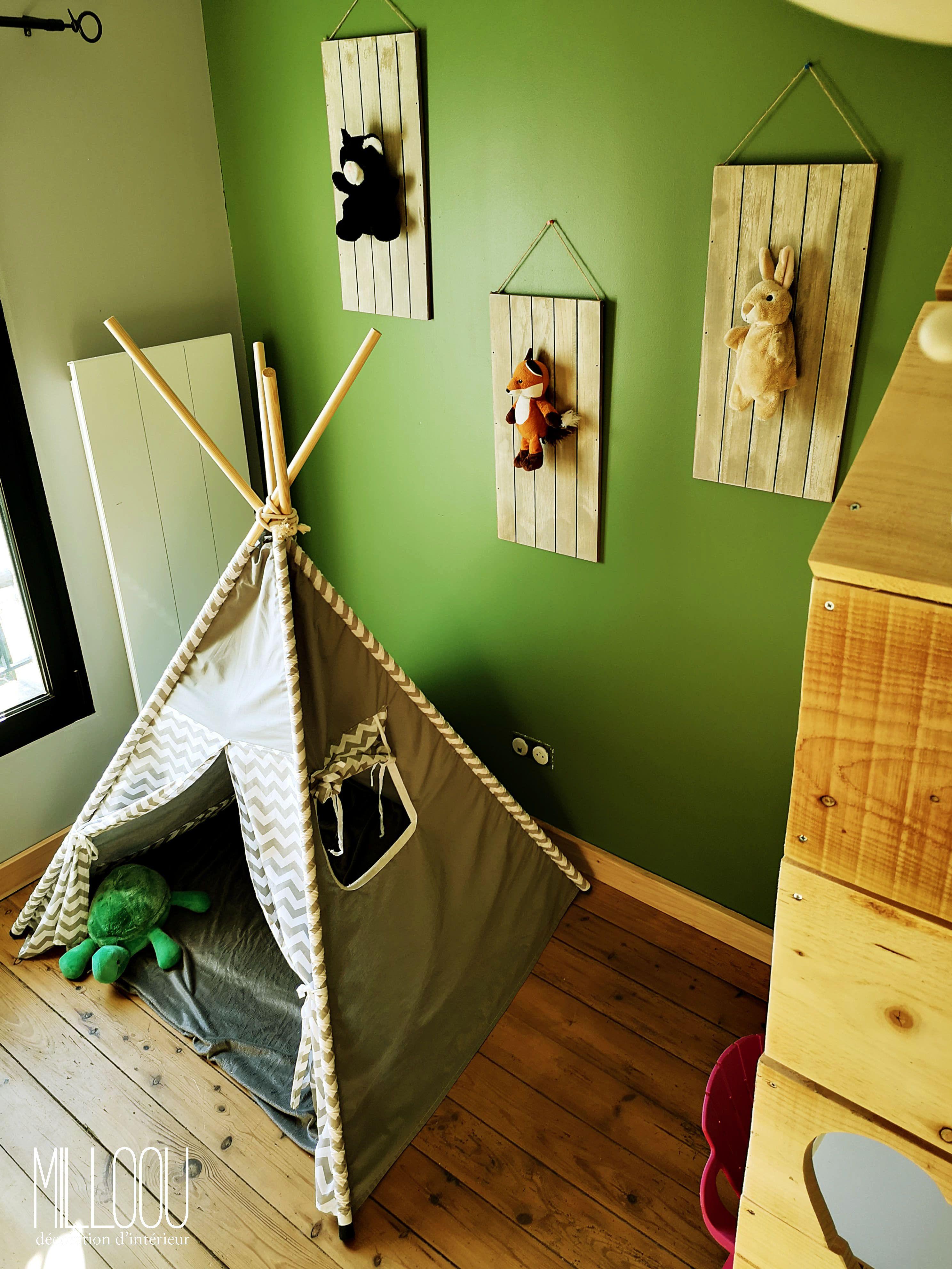 Diy Lit Cabane 90X190 chambre enfant thème jungle, avec un lit diy cabane
