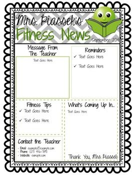 Classroom Newsletter Template EDITABLE FREEBIE Weekly Teacher Pe Games