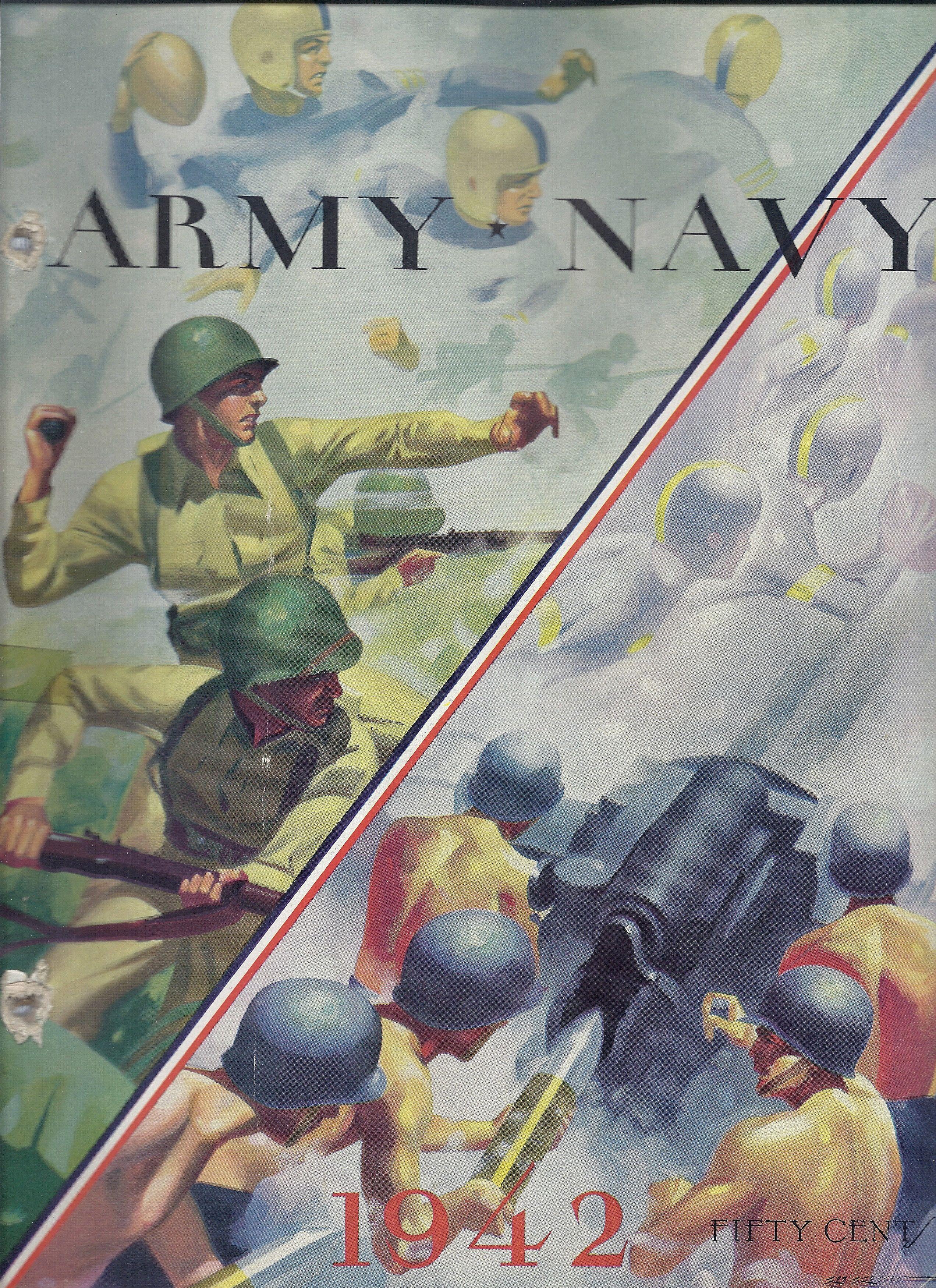1942 army navy football program annapolis thompson field