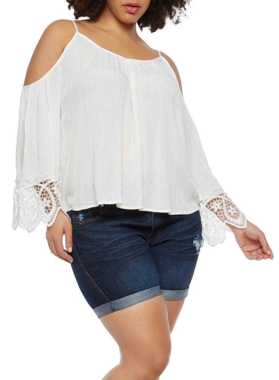 0f2eeabec9fb9 Plus Size Crochet Trim Cold Shoulder Top - White - Size 3X ...