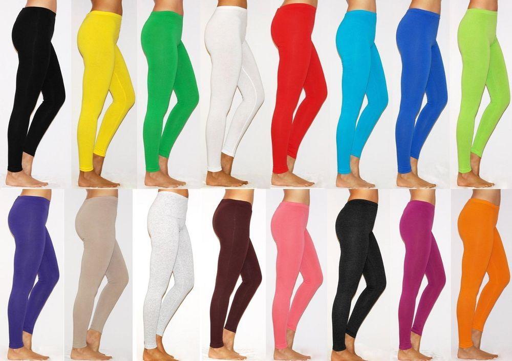 Womens High Waist Cotton Leggings Thick Warm Full Length UK Size 6-28