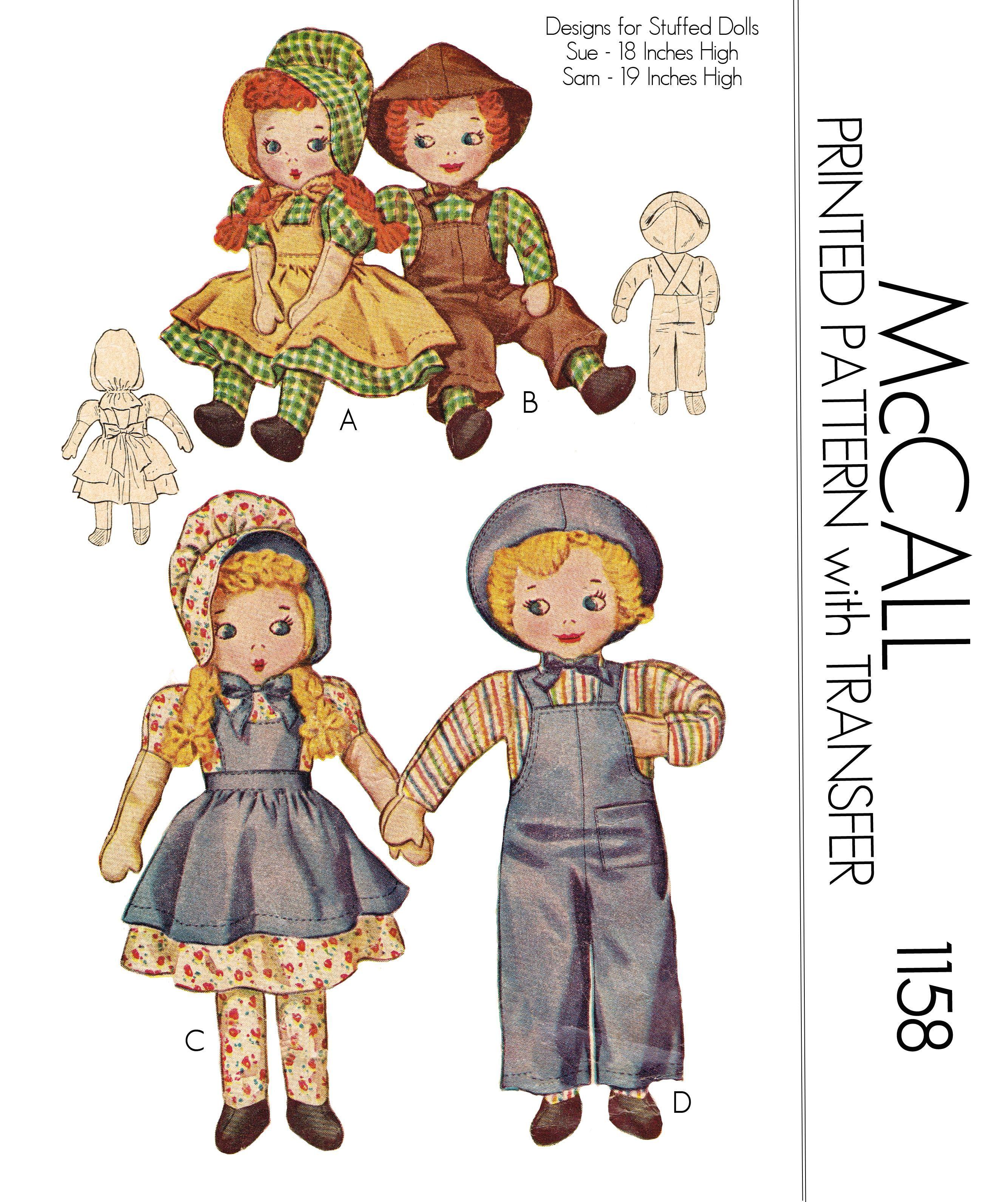 PDF Vintage Doll Sewing Pattern - mccall 1158 buggsbooks.com | PDF ...