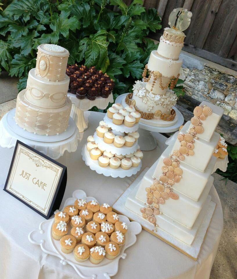 Gold and White Wedding. Wedding Reception Dessert Buffet. Wedding cake table