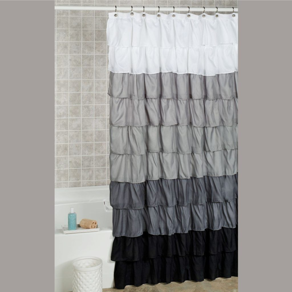 Dark Gray Ruffle Shower Curtain