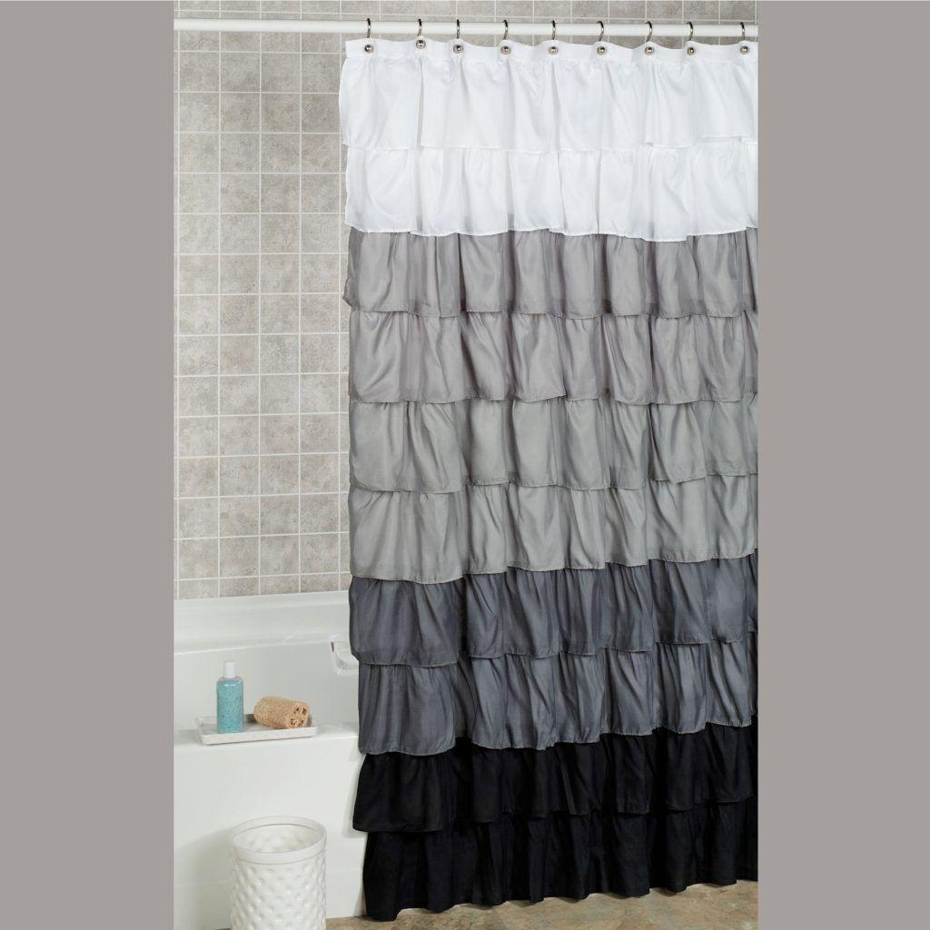 Dark Gray Ruffle Shower Curtain Ombre Shower Curtain Ruffle