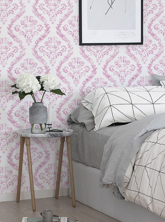 Peel And Stick Self Adhesive Vinyl Wallpaper Wall Decal Baby Pink Damask Pattern 100 Bedroom Interior Home Decor Interior