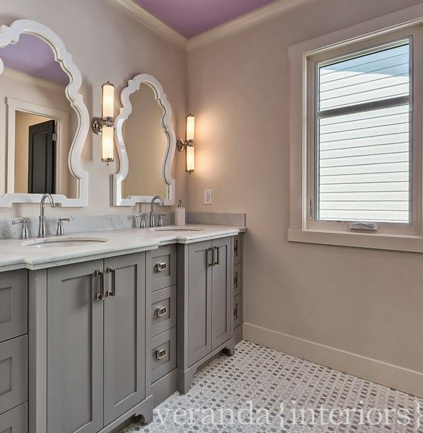 Amazing Bathroom Features Purple Ceiling As Well As Jonathan Adler Queen  Anne Mirrors On Light Gray
