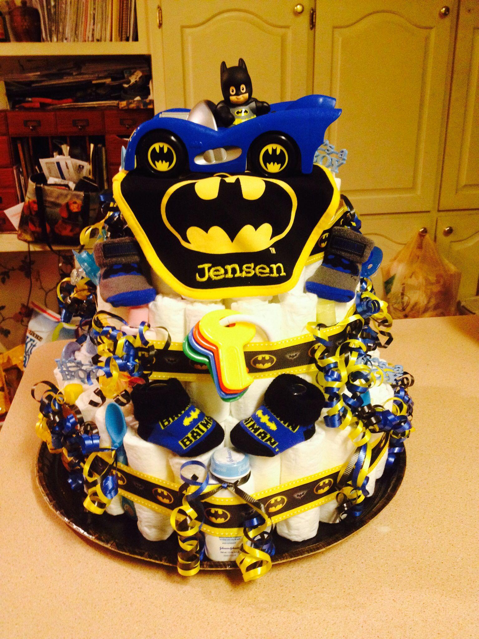 Nice Baby Batman Baby Shower Cake. Batman Diaper Cake