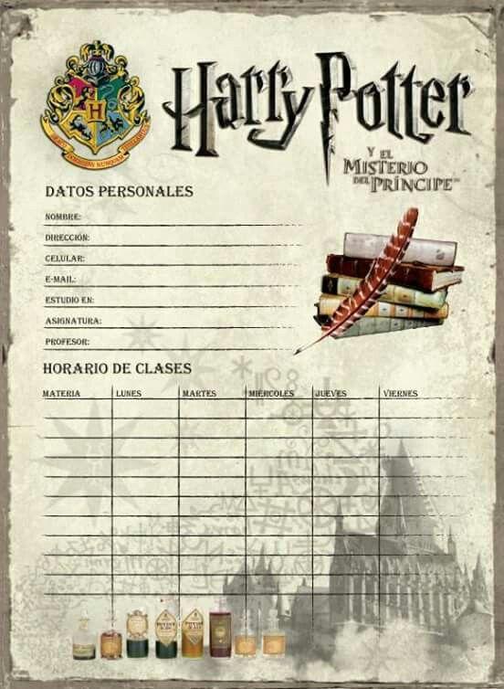 Harry Potter Horarios Libros De Harry Potter Carta De Harry Potter Arte De Harry Potter